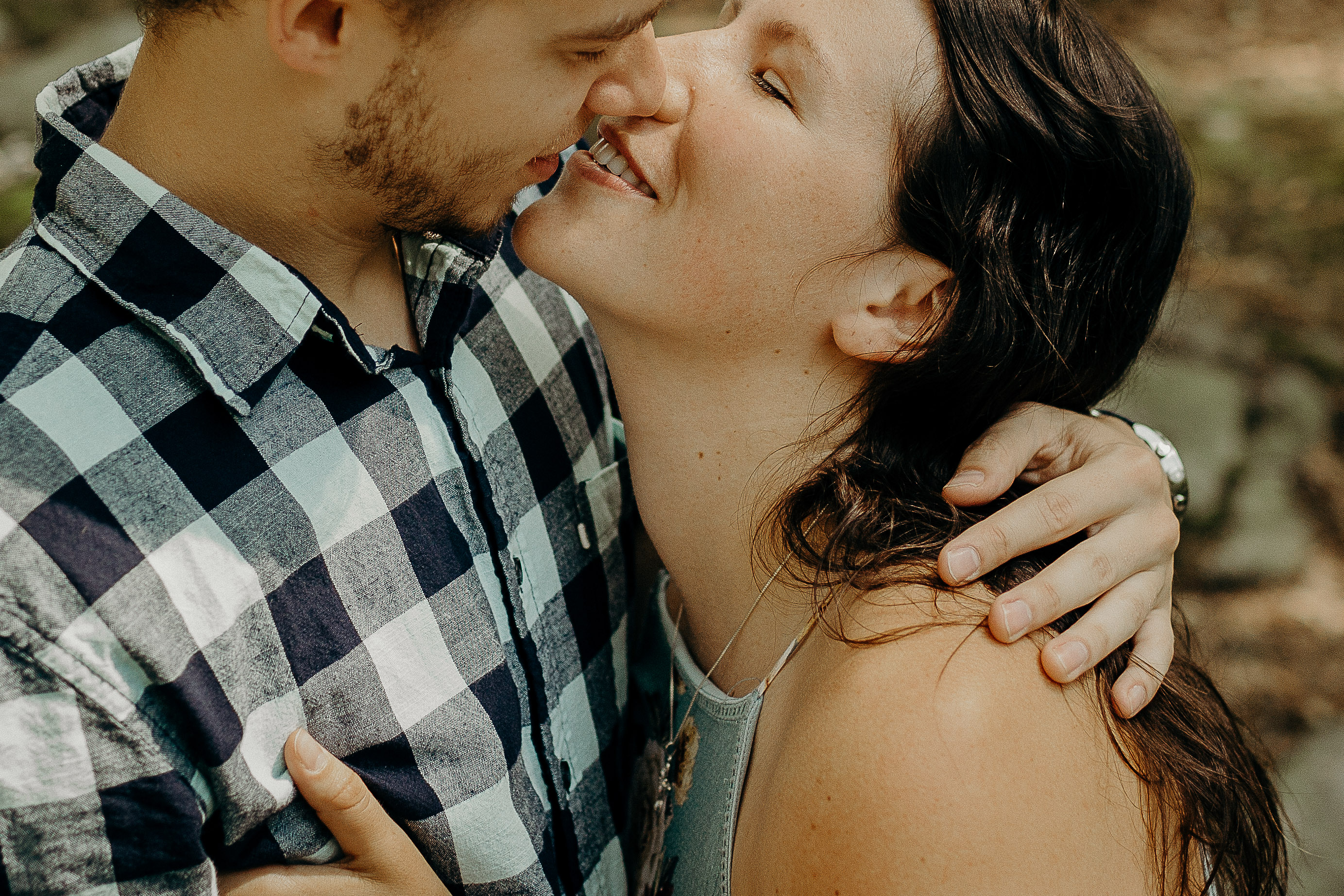 Portrait of couple about to kiss
